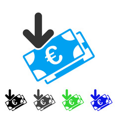 Euro income banknotes flat icon vector