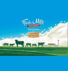 farm landscape milk splash 01 vector image
