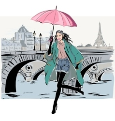 Fashion model in sketch style fall winter with vector image