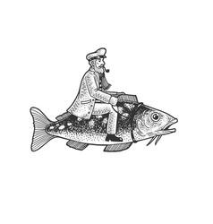 Fisherman captain riding fish sketch vector