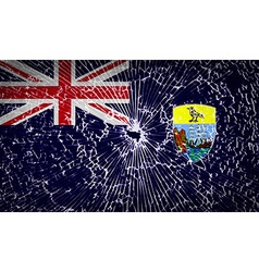 Flags Saint Helena with broken glass texture vector image
