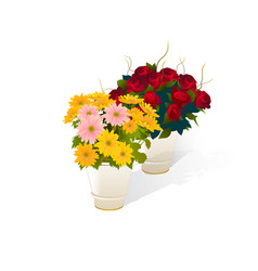 flowers and vase realistic vector image