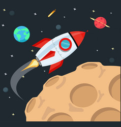 Flying rocket in space background vector