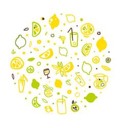 fresh healthy lemonade and citrus fruits seamless vector image