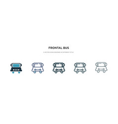 Frontal bus icon in different style two colored vector