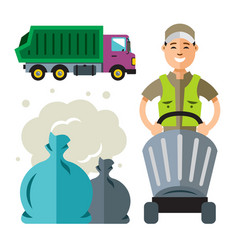 garbage truck and collector flat style colorful vector image