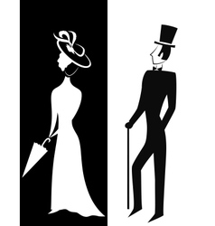 Gentleman and Lady silhouette vector