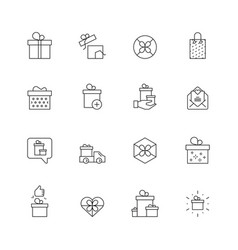 gift icons packages with ribbons offers present vector image