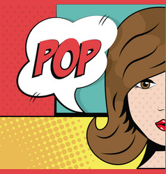 Girl brunette pop bubble speech pop art vector