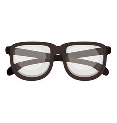 glasses with brown frame silhouette in white vector image