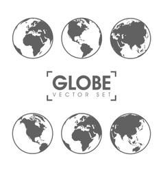gray globe icons vector image
