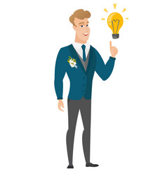 Groom pointing at business idea light bulb vector