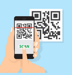 Hand with phone scanning qr code flat style icon vector