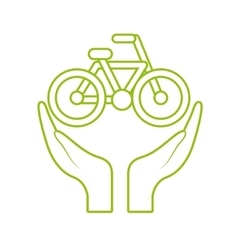 hands and bicycle icon vector image