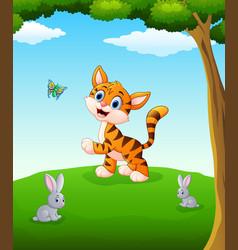 happy animals cartoon on the field vector image
