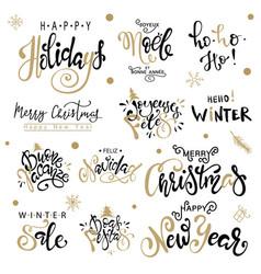 happy new year big set greeting card vector image