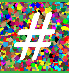 Hashtag sign white icon on vector