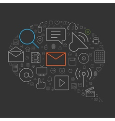 icons shape line ui speech bubble vector image