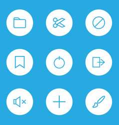 Interface icons line style set with forbidden vector