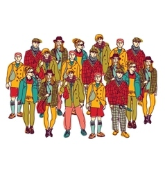 Isolate group young fashion people vector image