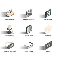 isometric 3d web icon set vector image