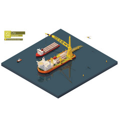 Isometric pipe laying vessel pipe lay ship vector