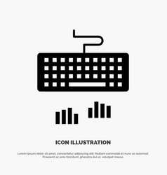 Keyboard interface type typing solid black glyph vector