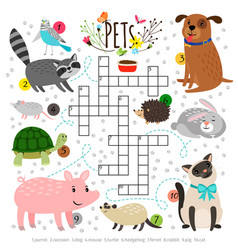 Kids crosswords with pets children crossing word vector