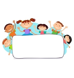Kids peeping behind placard vector