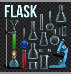Laboratory flask set glassware beaker vector