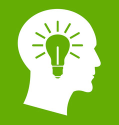 light bulb inside head icon green vector image