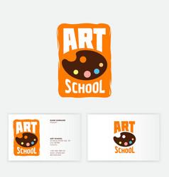 Logo art school artist s palette with paint badge vector