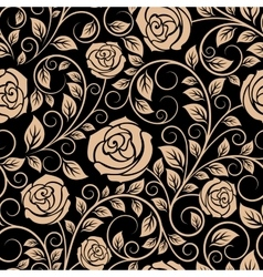Luxury floral seamless pattern with blooming roses vector