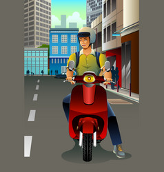 man riding a scooter vector image