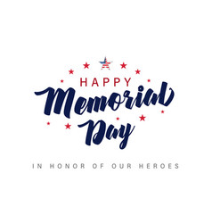 memorial day usa lettering poster vector image