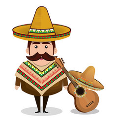Mexican man comic character vector
