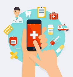 Mobile phone with health application open with vector
