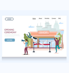 opening ceremony website landing page vector image