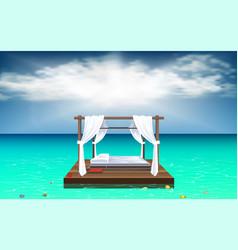 Outdoor cabana bed at beach vector