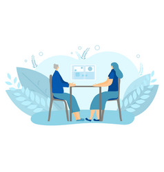 People siting at desk design vector