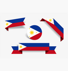 Philippines flag stickers and labels vector