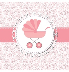 Pink Baby Carriage for Newborn Girl vector