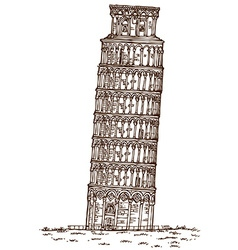 Pisa tower hand draw vector