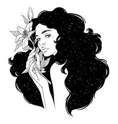 Portrait beautiful woman with flowers black vector