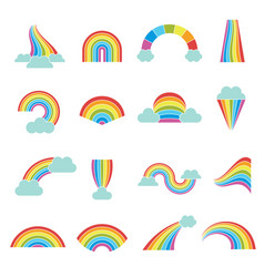 rainbows weather colored glossy shine curves vector image