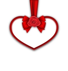 Red Heart with Red Rose Ribbon and Bow for Happy vector image