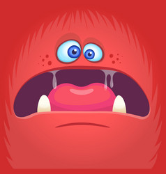 Scary cartoon angry monster face avatar vector