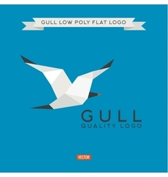 Sea gull low poly polygon logo vector image