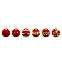 set christmas balls isolated on white toys vector image