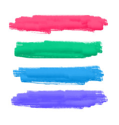Set of four hand painted brush stroke vector